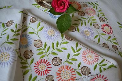 Vintage chic hand embroidered white linen tablecloth autumnal floral seedpods