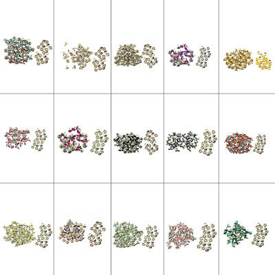 10 x 10mm Diamante Rivet Studs Coloured Acrylic Rhinestones Leather-craft Fabric