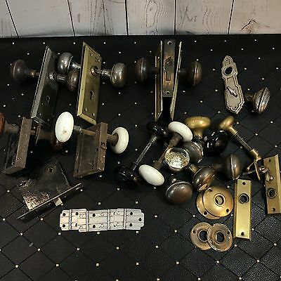 Large Lot Antique Vtg Door Hinges Knobs Locks Plates Keyhole Brass Glass