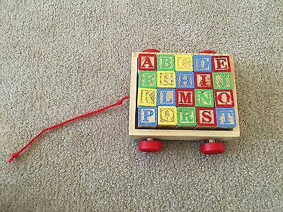 Wooden Alphabet Blocks, Colorful, Wagon with String