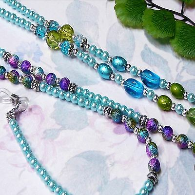 Reading Eye glasses spectacle chain holder necklace Aqua Blue Pearl Collection