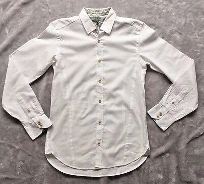 Ted Baker White Floral Print Shirt Size 2 Slim Fit Mens
