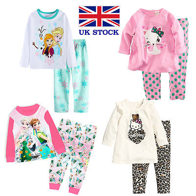 Girls Pyjamas Frozen Anna Elsa Hello Kitty Long Sleeve 1-10 Years - UK Stock !!!