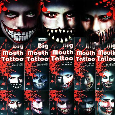 Big Mouth Temporary Tattoo Halloween Costume Zombies Party Accessories