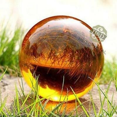 Amber Asian Rare Natural Magic Crystal Healing Ball Sphere 40mm + Stand 898