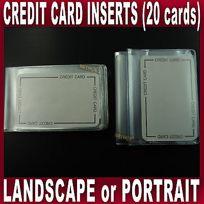 INSERT FOR CREDIT CARD Holder Wallet hold 20 cards portrait landscape plastic