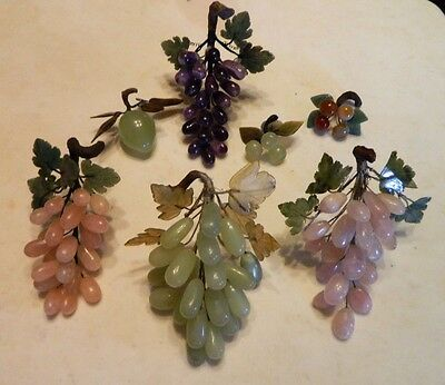 Collection of Vintage Jade Fruit~Grapes~ Pear~Cherries