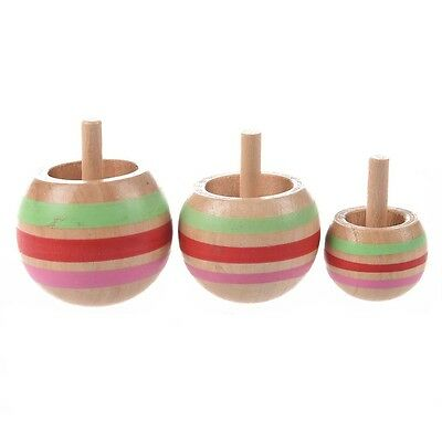 V1P 3pcs Wooden Colorful Spinning Top Kids Toy 3 Sizes for Children G6T0