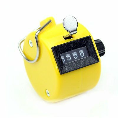 Yellow Digital Hand Held Tally Clicker 4 Digit Number Clicker Counter M3S0 L1K5