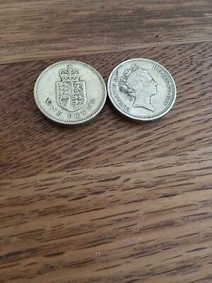 2 X Rare £1 Coin. Shield Of The Royal Arms 1988. Lovely Condition.