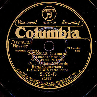 "ADOLPHE FREZIN - CELLO - ""Goyescas"" Intermezzo / ""Jocelyn"" Berceuse  78rpm S4086"