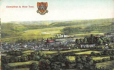 Postcard Vintage CARMARTHAN & River Towy with Coat of Arms WALES