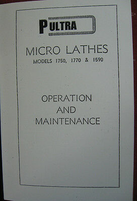 Pultra Clockmakers Lathe Operation & Maintenance Book