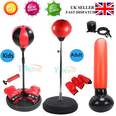 Punch Bag Ball And Mitts Gloves Kit Boxing Set For Kids/adult 4 Style Uk Seller
