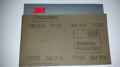 3M P1200 WetorDry Abrasive 314 material  Pack (5 sheets)  138 x 230mm