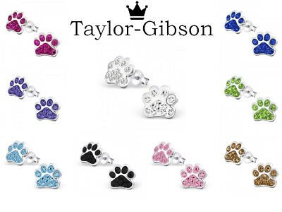 925 sterling silver paw print dog cat earrings studs crystal Womens Kids Girls