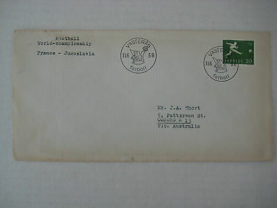 1958 World Cup Match Day Cover - France v Yugoslavia, 11 June