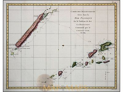 Captain Cook map Discoveries Pacific Ocean Cook 1774