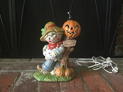 VINTAGE 1970's CERAMIC HALLOWEEN SCARECROW &  JACK-O-LANTERN LIGHT-UP LAMP