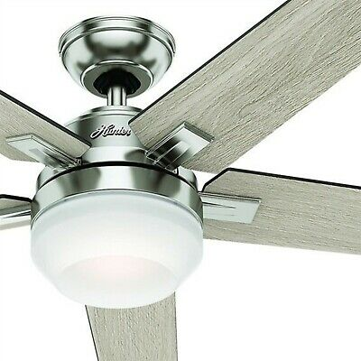 """54"""" Hunter Contemporary Ceiling Fan, Brushed Nickel, LED Light Kit and Remote"""