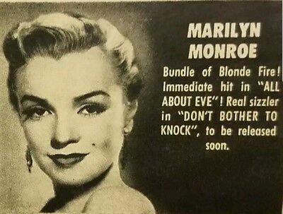 Magazine ad from the 1950s. Marilyn Monroe Robert Wagner Dale Robertson etc.