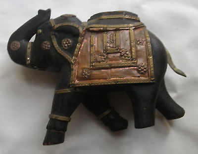 Antique Elephant Trunk Up Hand Carved Wood Brass & Cooper Large Figure