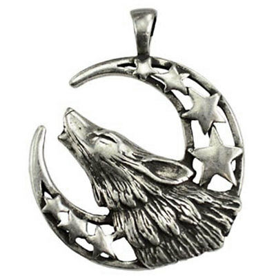 "NEW Howling Moon Wolf Amulet 1.5"" Pewter Pendant Silver Spirit Totem - US Made!"