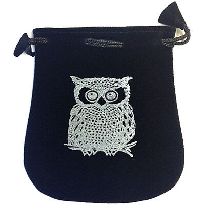 "NEW Owl Drawstring Bag 5"" - For Dice, Runes, or Crystals Black Velvet Pouch"