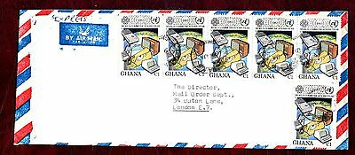 GHANA STAMPS-World Communication Year 1c, airmail to UK, 1983