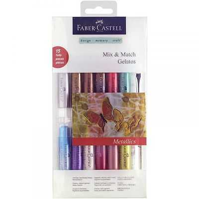 Faber Castell Gelatos Mix & Match 15 Pieces Water-soluble Crayons - Metallic