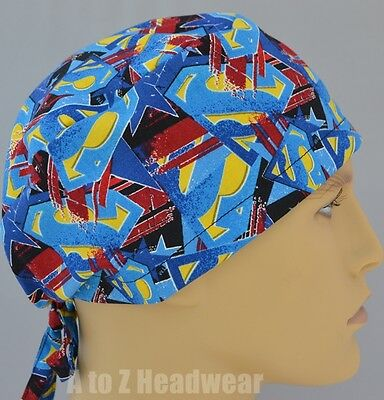 DC Comics Superman Packed Logos TRADITIONAL Unisex Surgical Scrub Cap