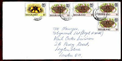 SWAZILAND STAMPS- Butterfrlies, cover to UK, 1987
