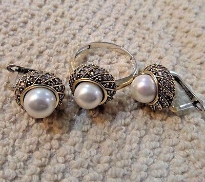Ladys Turkish Jewelry 925 Sterling Silver / White Pearl Set Ring Size 9