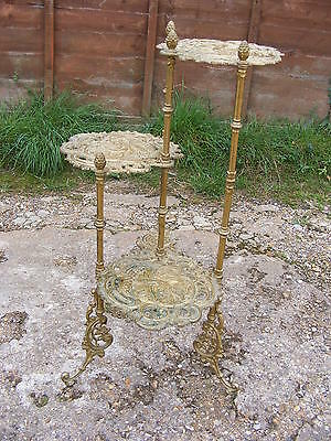 Victorian Antique Style 3 Tier Brass Pedestal Display Table Plant Cake Stand