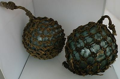 """Vintage Japanese huge pair of Glass Fishing Float 38"""" Nautical buoy Ball Roped"""
