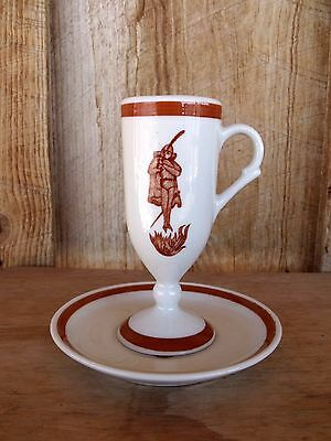 VTG RestaurantWare Sterling China Irish Coffee Footed Cup Saucer Human & Flames