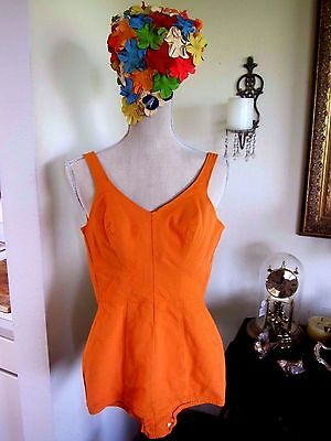 Vintage 50s 60s Catalina pin up Swimsuit bathing suit w/flower bathing cap sz 2