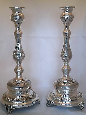 Judaica Pair of 925 Sterling Silver Candlesticks