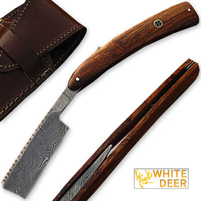 WHITE DEER Custom Made Damascus Steel Straight Razor w/ Wood Handle SHARP Shaver