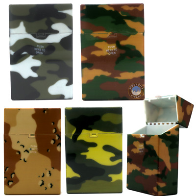 5 Army Multi Color Top Flip Open Plastic Cigarette Case Pack Holders King's