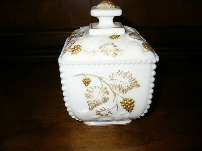 Westmoreland Beaded Grape Milk Glass Covered Candy Dish Gold Trimmed