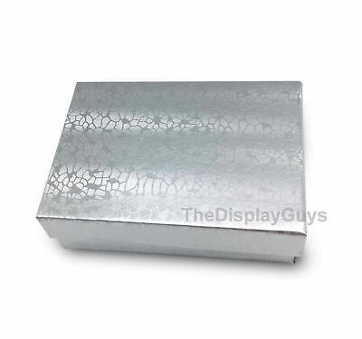 """US Seller~12 pcs 3 1/4""""x2 1/4""""x1"""" Silver Cotton Filled Jewelry Gift Boxes"""