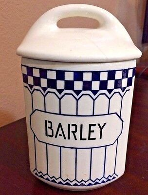 """Yvonne 357 Czechoslovakia """"BARLEY"""" Canister with Lid ~ Vintage 1920's"""