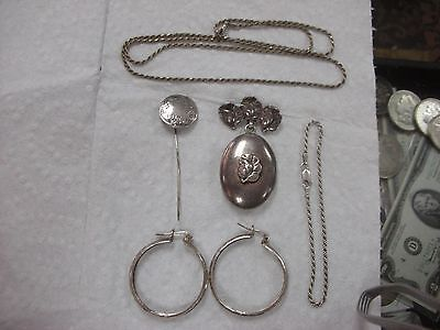 Antique ESTATE STERLING SILVER locket pin earrings necklace bracelet hat pin LOT