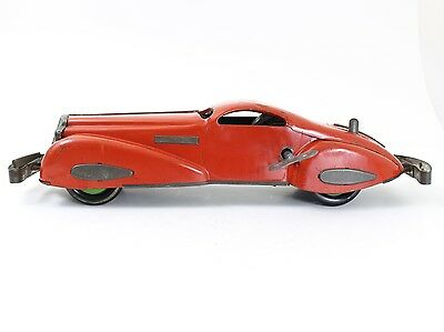 Vintage MARX Mystery Car, Red w/ Bumpers & Key Windup Tin Car