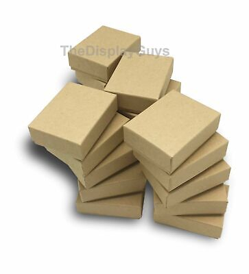 "Lot of 50 pcs 1 7/8""x1 1/4""x5/8"" Kraft Cotton Filled Jewelry Boxes"