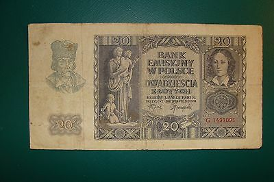Old Poland 20 Zlotych 1940