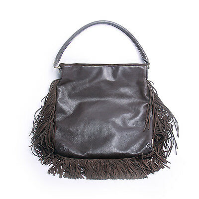 d0861f2be2c9 TORY BURCH FRINGED Brown Leather Suede Hobo Bag -  205.00
