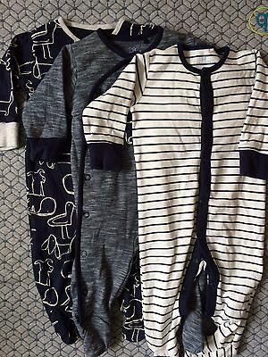 3 x Next Boys Sleepsuits 3-6 Months Dog Navy Stripes