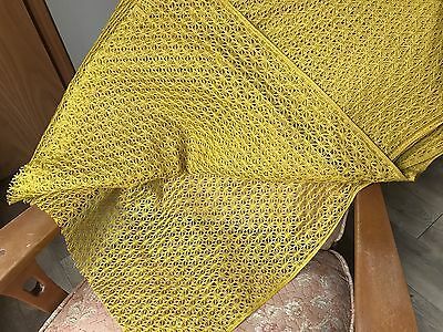 "True Vintage Gold ""Beacon"" Lace Fabric By The Yard Mustard Yellow/Curtains"